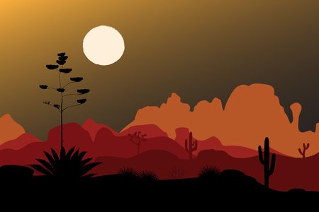 Blue agave silhouette in night desert. Mountains background. Vector illustration