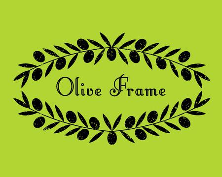 Design della cornice verde oliva. Illustrazione vettoriale Telaio di confine ramo di Olove Vettoriali