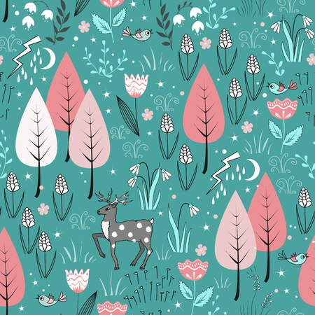 Spring pattern with deer, birds, flowers, and trees in blossom. Gentle spring forest background Illustration