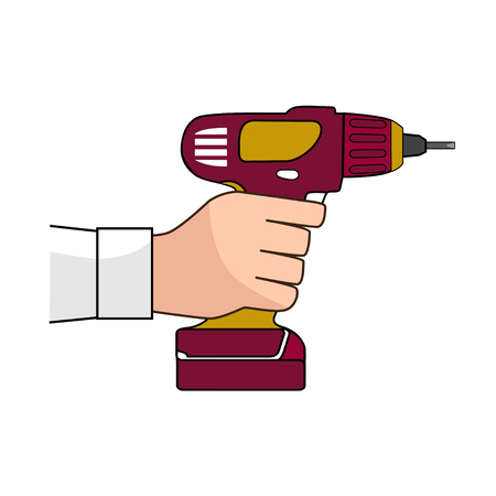 Screw Gun Icon. Human hand with impact wrench or screwgun vector. Electric screwdriver in male hand. Illustration