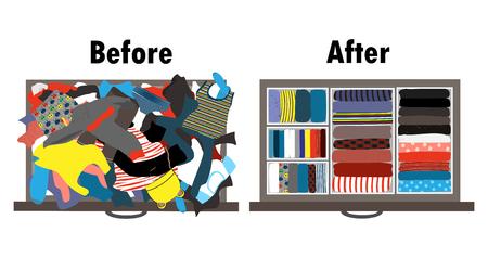 Antes y después de arreglar el armario de los niños en el cajón. Ropa desordenada y ropa bien arreglada en cajas dentro del cajón. Ilustración del vector. Limpieza y organización según el método de Marie Kondo