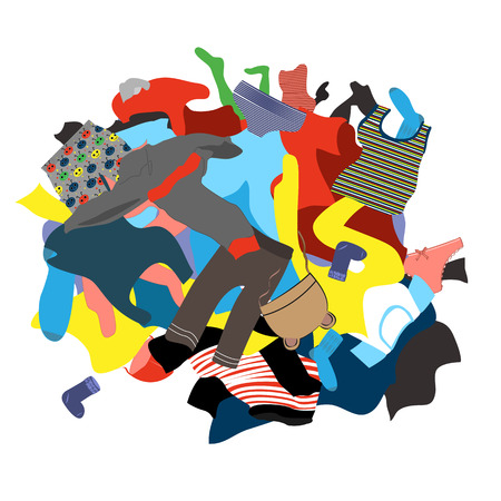 Illustratie met een slordige stapel vuile was. Kinderkleding vector. Kinderkleding klaar om te wassen