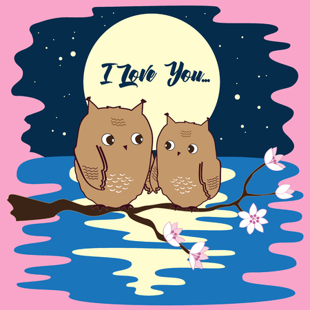twit: Cute owls in love at moon night. Illustration