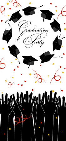 Graduate Hands Throwing Up Graduation Hats. Graduation Card with Place for Text. Çizim