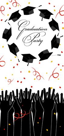 Graduate Hands Throwing Up Graduation Hats. Graduation Card with Place for Text. Illusztráció