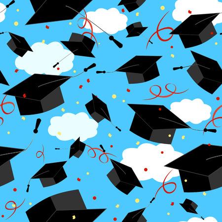 master degree: Graduation caps in the air. Illustration