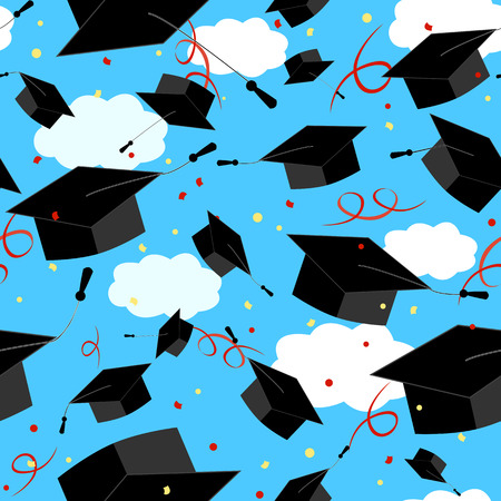 Graduation caps in the air. Illustration