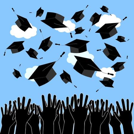大学院手卒業の帽子を投げます。卒業式のパターン 写真素材 - 76827716
