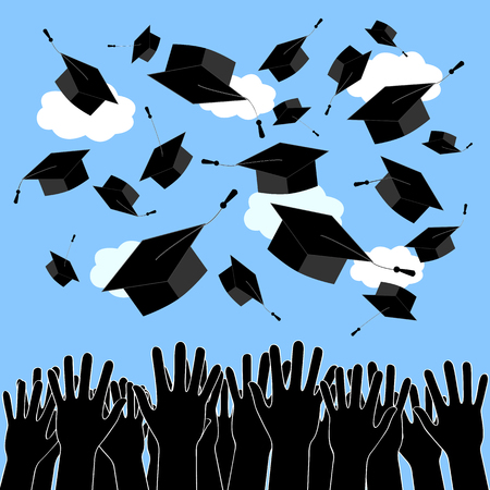 doctorate: Graduate Hands Throwing Up Graduation Hats. Graduation Ceremony pattern