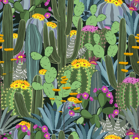 Seamless pattern with cactus. Wild cactus forest Illustration