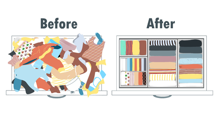 Before and after tidying up kids wardrobe in drawer. Messy clothes and nicely arranged clothes in piles. Ilustração