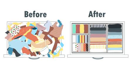 Prima e dopo l'allestimento dei guardaroba per bambini nel cassetto. Abbigliamento disordinato e vestiti ben disposti in pile. Archivio Fotografico - 77596987