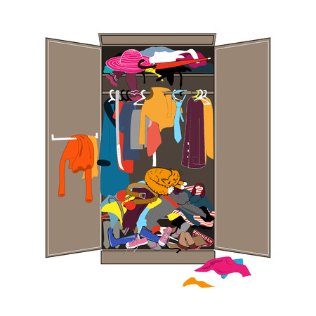 Untidy open woman wardrobe. Closet with messy clothes. Home mess interior. Flat design vector illustration. Vettoriali