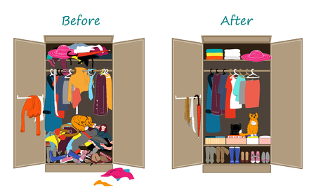Before untidy and after tidy wardrobe. Messy clothes thrown on a shelf and nicely arranged clothes in piles and boxes. Ilustração