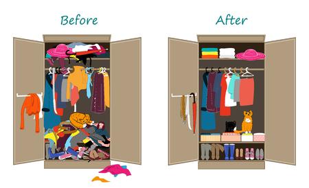 Przed posprzątaniem i po schludnej garderobie. Brudne ubrania rzucone na półkę i ładnie ułożone ubrania w stosy i pudełka.