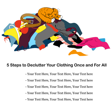 about: Messy clothing pile with a sleeping cat. Illustration about decluttering with place for text. Vector illustration Illustration