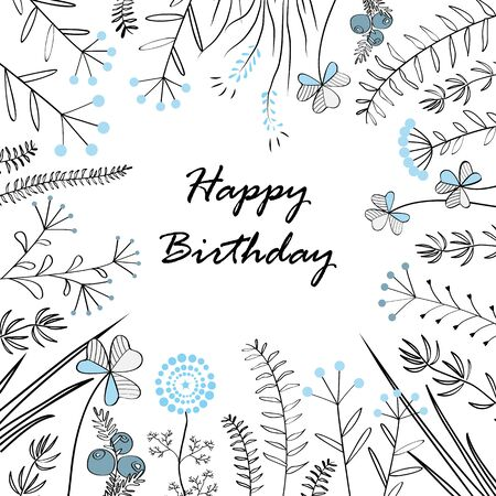lucky clover: Card with medow herbs and text Happy Birthday. Vector illustration. Illustration for greeting cards, invitations, and other printing projects. Illustration