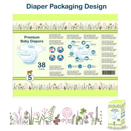 Diaper packaging design elements in doodle forest style. Nappy pakaging design for size 1, with floral border and owl.