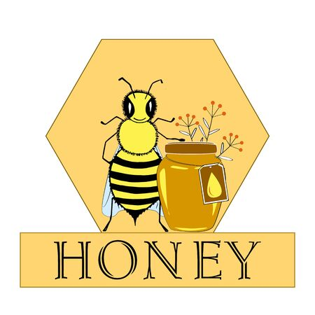 etch glass: Vector honey bee hand drawn illustrations Jar and bee in honeycomb, flower objects. Banner, poster, label, brochure template for business promote.