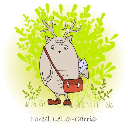 Colorful cute monster with bag, forest postman.