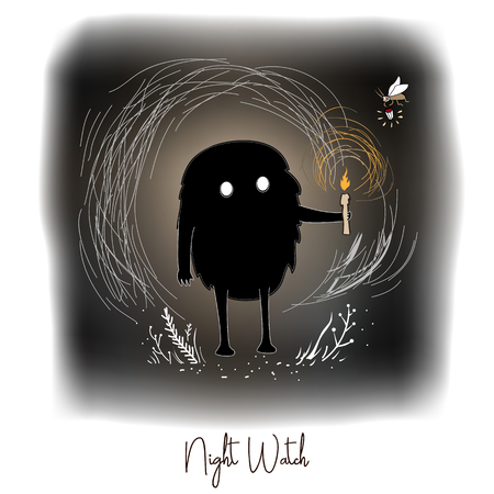 Hand drawn vector artistic creative artwork illustration with black cute monster with candle in night fairy forest. Illustration