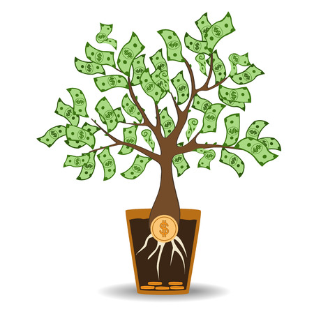 businessperson: Money tree growing from a coin root. Green cash banknotes tree in ceramic pot. Modern flat style concept vector illustration