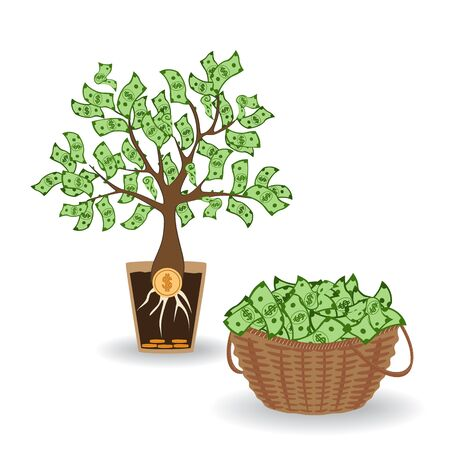 Money tree with a coin root. Green cash banknotes tree in ceramic pot and money basket. Business and investment harvest and income concept