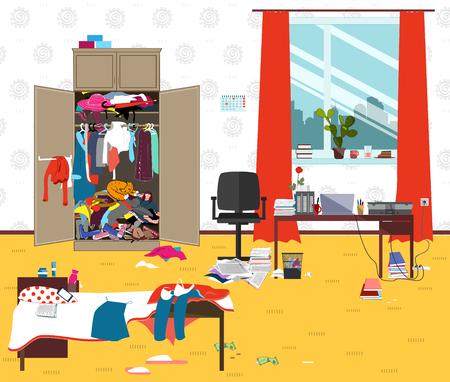 Messige kamer waar de jonge vrouw woont. Tiener of student meisje slordige kamer. Cartoon rommel in de kamer