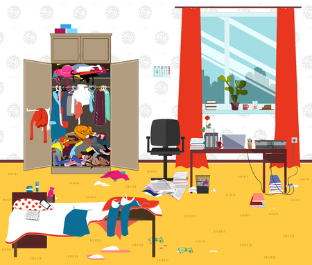 Messy room where young lady lives. Teenager or student girl untidy room. Cartoon mess in the room