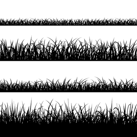 Set of silhouette of grass isolated on white background. Stock vector illustration Vettoriali