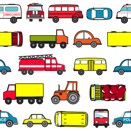 Cute seamless background with cartoon cars.