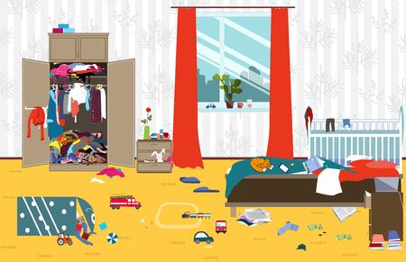 Desordenada habitación donde la familia joven con bebé pequeño vive. Habitación desordenada. Desorden de dibujos animados en la habitación. Juguetes no cobrados, cosas. Ilustración vectorial de limpieza.