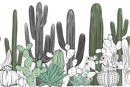Seamless pattern with cactus. Wild cactus forest Иллюстрация