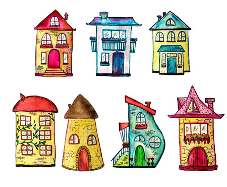 Cute watercolor painted houses set. Can be used for cute print design for greeting holiday card or fashion design. Stock Photo