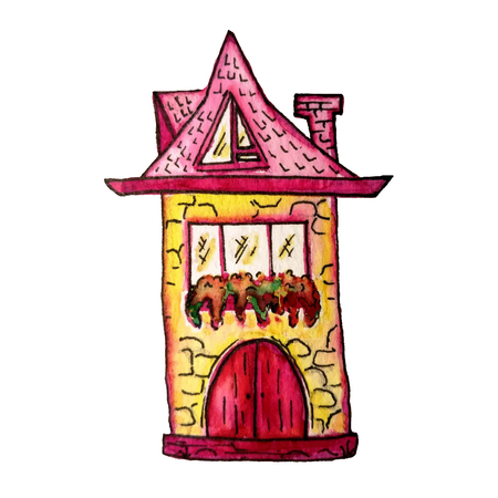 Cute fairy house watercolor illustration. Hand painted illustration can be used for cute print design for greeting holiday card or fashion design.