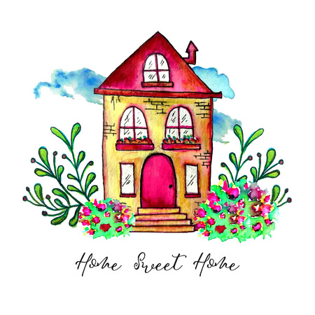 Sweet home label. Cute watercolor old building with branches and herbs isolated on white background. Hand painted card with happy house and flowers. Archivio Fotografico