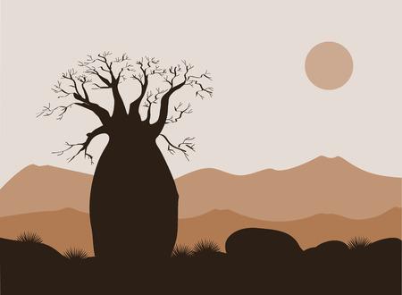 山の背景を持つバオバブ ツリー風景。バオバブのシルエット。アフリカの日の出
