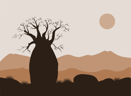 Baobab tree landscape with mountains background. Baobab silhouette. African sunrise