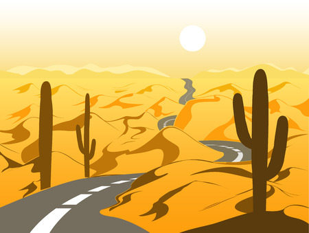 Beautiful desert landscape with asphalt road and cactus. Cartoon vector illustration. Illustration
