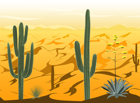Pattern with desert landscape and cacti