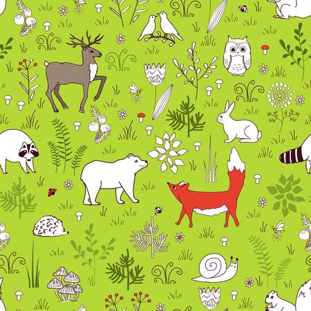 Forest seamless pattern with cute bear, fox, hedgehog, birds, bees, butterflies, mushrooms, owl, snail, deer, hear, and raccoon in cartoon style. Kids background