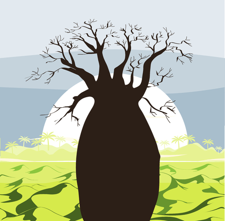 africa baobab tree: Baobab tree landscape with green hills and sun