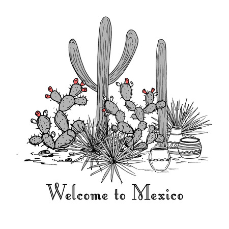 Cacti group. Prickly pear cactus, blue agaves, and saguaro. Welcome to Mexico card. Vector illustration. Mountains background