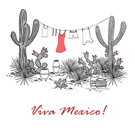 Funny hand drawn illustraytion with jars, saguaro, blue agave, prickly pear, and laundry hanging on a clothesline. Latin American background. Viva Mexico Vector.