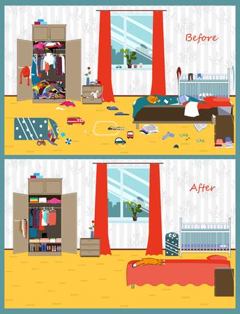Brudny i czysty pokój. Zaburzenia we wnętrzu. Pokój przed i po oczyszczeniu. Płaski styl ilustracji wektorowych.