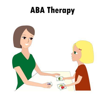 Kobieta i dziewczyna wskazuje ABA aktywność karty. Jedna z metod leczenia autyzmu. Małe dziecko i instruktor.