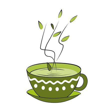 Green tea cup. Vector illustration. Hot smelling tea in ornamented cup Illustration