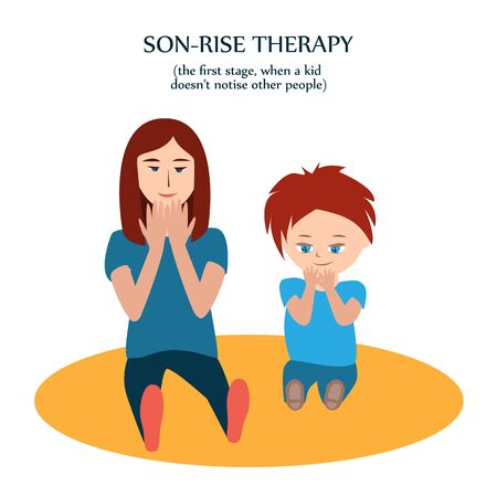 Boy and woman look at their fingers. Mother copies action of her son with autism to show him her love and understanding. Son-rise method of autism treatment