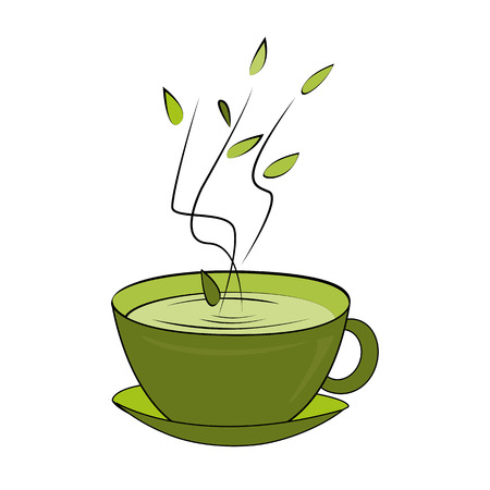 Green tea cup. Vector illustration. Hot smelling tea in ceramic cup Ilustrace