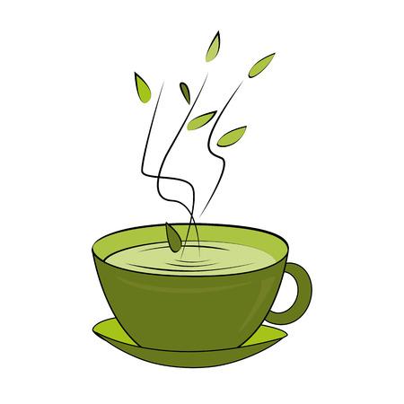 Green tea cup. Vector illustration. Hot smelling tea in ceramic cup Illustration